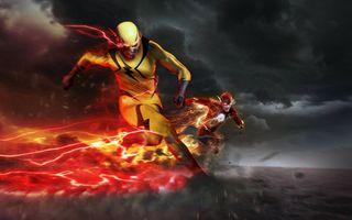 Бесплатные фото Reverse-Flash,Eobard Thawne,Barry Allen,небо,поле,тучи,Flash