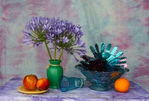 Photo free vase, flowers, fruit