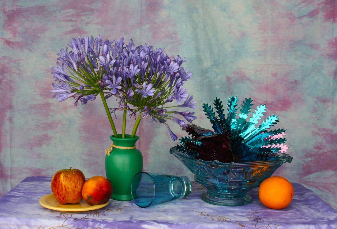 Фото бесплатно ваза, цветы, фрукты, натюрморт - на рабочий стол