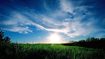 Заставки восход солнца, поле, трава