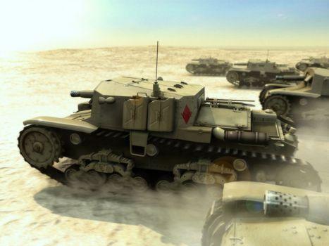Фото бесплатно пт-сау, танки, пустыня