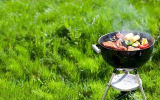 Фото бесплатно газон, трава, мясо, овощи, сосиски, перец, еда