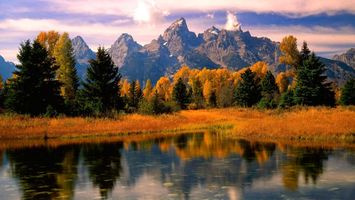 Бесплатные фото горы,озеро,осень,деревья,листья,желтые,пейзажи