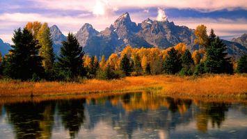 Фото бесплатно горы, озеро, осень