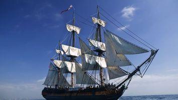 Бесплатные фото корабль,белые,паруса,судно,океан,небо,разное