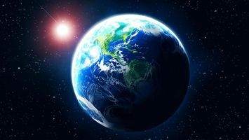 Фото бесплатно земля, солнце, звезда, восход, арт, планета, космос