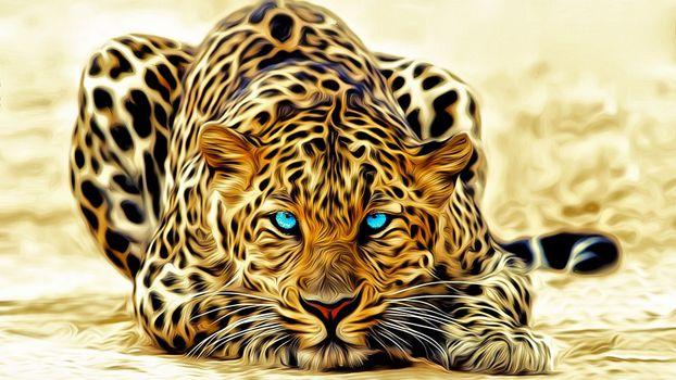 Заставки леопард, лежит, окрас