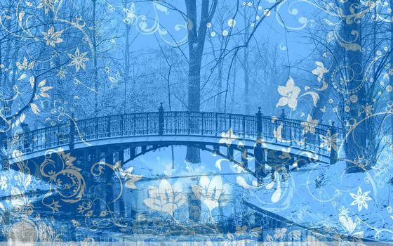 Заставки река, снег, ветки