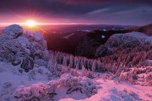 Фото бесплатно пейзаж, горы, солнце, зима, пейзажи