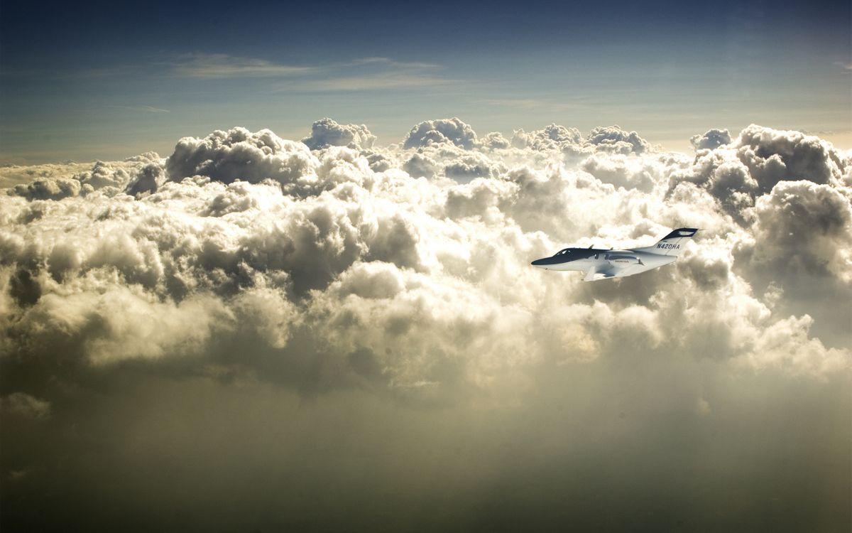 Фото бесплатно самолет, частный, полет, высота, небо, облака, авиация, авиация