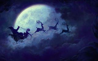 Бесплатные фото санта-клаус,сани,полет,небо,облака,зима,олени