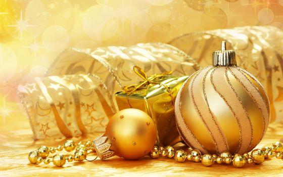 Бесплатные фото шарики,подарки,украшения,фон,желтый,ленточки,бусы,золото,напитки,настроения,праздники