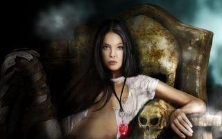 Бесплатные фото тёмная девушка,готика,череп,трон,кулон,сердце,разное