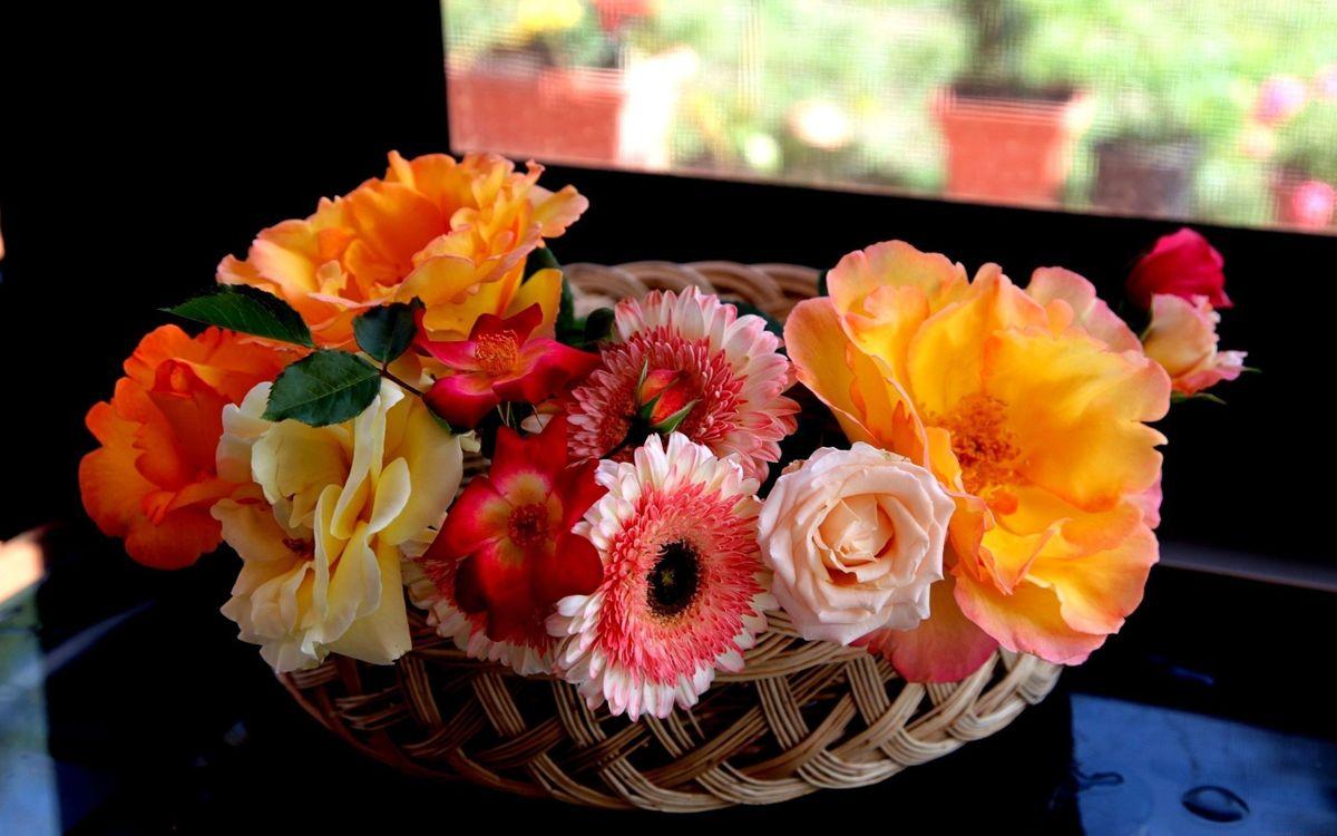 Фото бесплатно ваза, композиция, цветки, лепестки, корзина, плетеная, стол, комната, квартира, окно, цветы, цветы