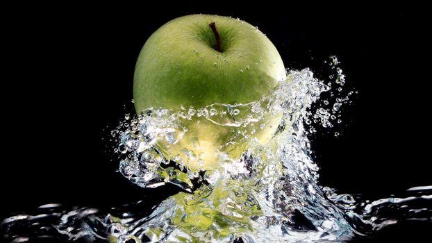 яблоко, вода, брызги, волны, зеленое
