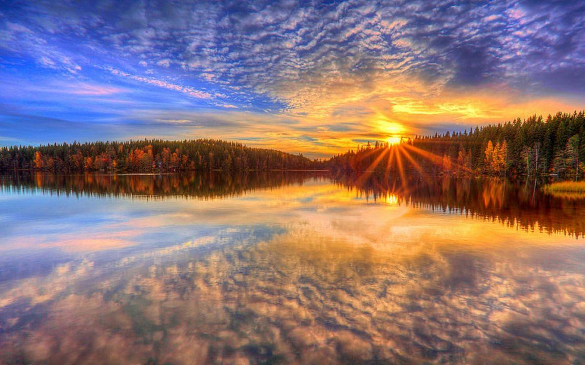 Фото бесплатно закат, озеро, лес, деревья, елки, лучи, солнце, небо, перистые, облака, пейзажи, пейзажи