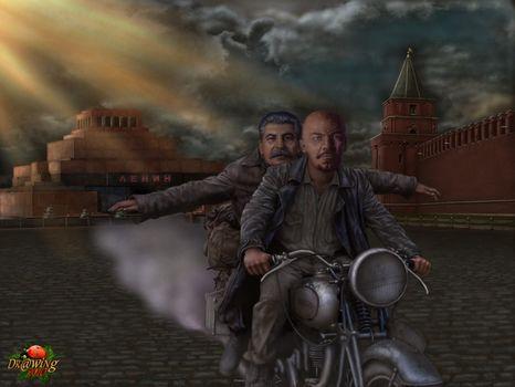 Фото бесплатно ленин, сталин, мотоцикл
