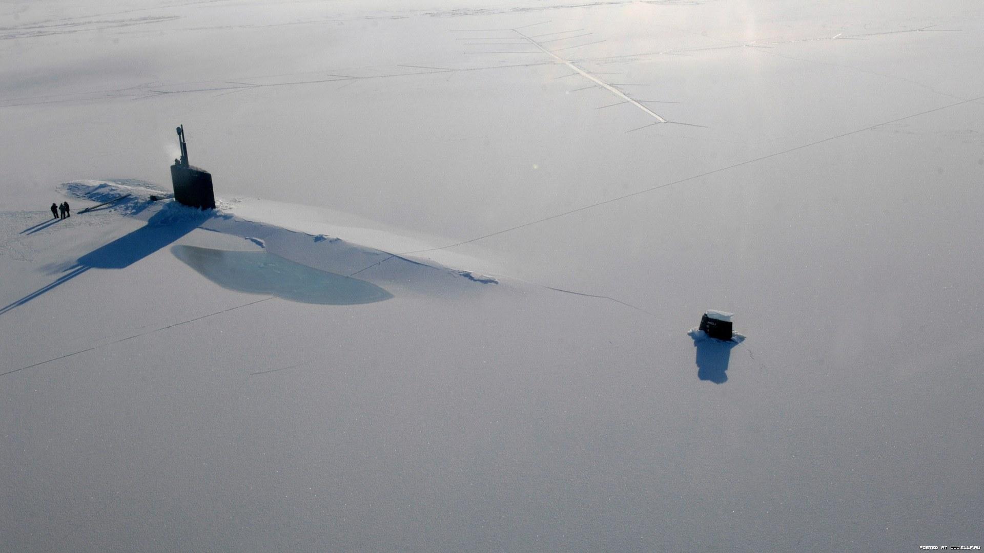підводна лодка, сніг, лід