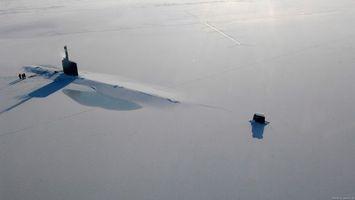Фото бесплатно підводна лодка, сніг, лід