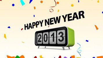 Обои 2013, зима, декабрь, январь, заставка, картинка, обои, салют, надпись, happy new year, кружочки, фон