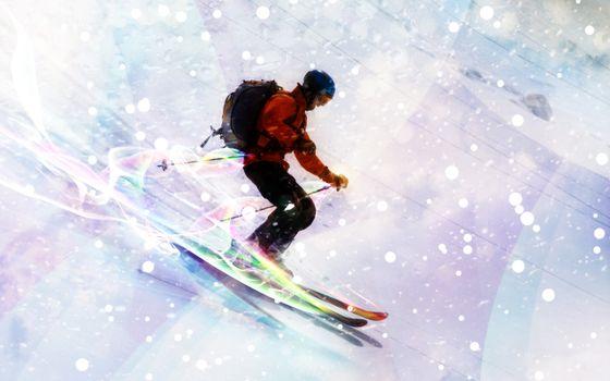 Фото бесплатно лыжник, лыжи, спорт