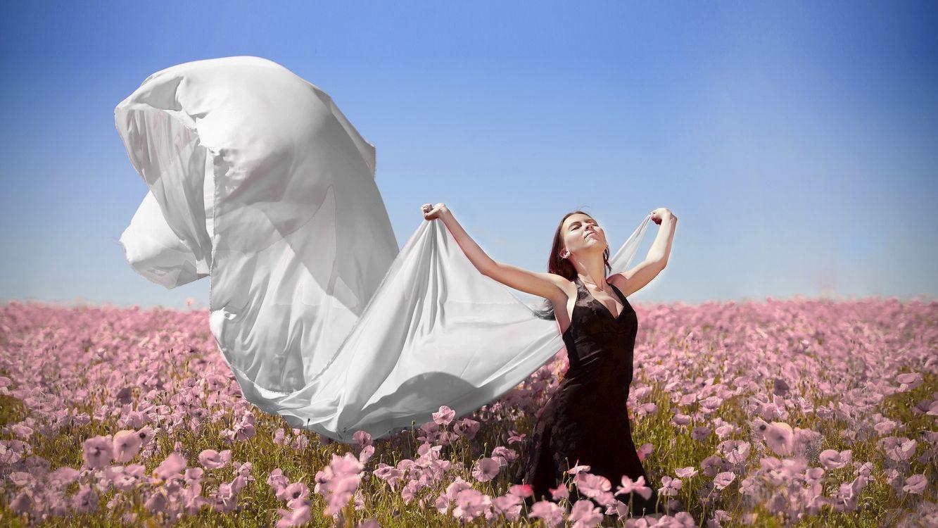 Фото бесплатно девушка, цветы, поле - на рабочий стол