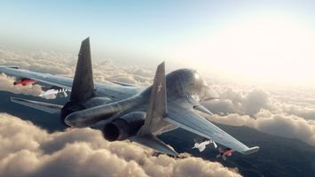 Фото бесплатно самолет, истребитель, авиация, вид сзади