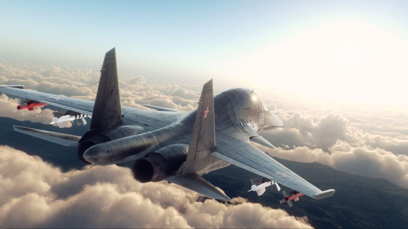 Фото бесплатно самолет, истребитель, авиация, вид сзади, разное