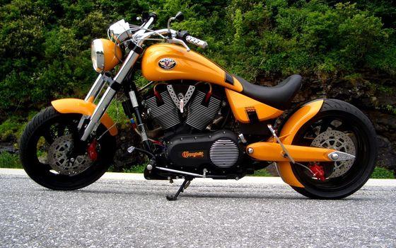 Фото бесплатно чоппер, желтый, фара, вилка, крыло, седло, мотоциклы