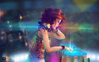 Обои девочка, диджей, колонки, играет, работа, профессия, хобби, пластинки, наушники, музыка, разное