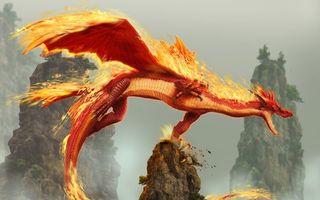 Фото бесплатно дракон, рычит, огонь, извергает, полет, крылья, чешуя, голова, сказка, горы, скалы, мультфильмы