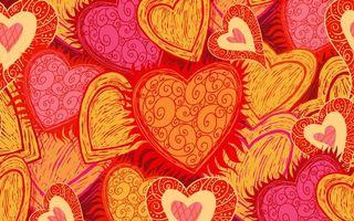 Заставки фон, заставка, сердечки, сердце, рисунок, арт, узоры, красный, цвет, штрихи, абстракции, настроения
