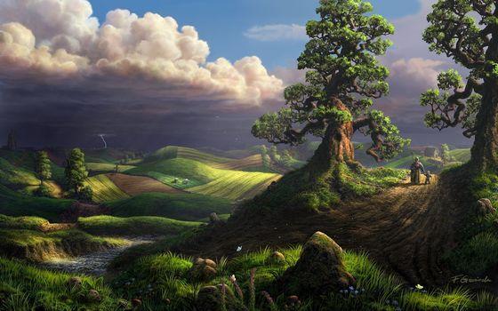 Фото бесплатно рендеринег, сказочные, места, пожилая, женщина, ребенок, тучи, гроза, молния, деревья, поля, простор