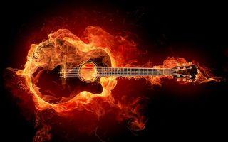 Заставки гитара, огонь, красивая