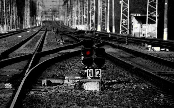 Фото бесплатно черно-белая, железная дорога, рельсы