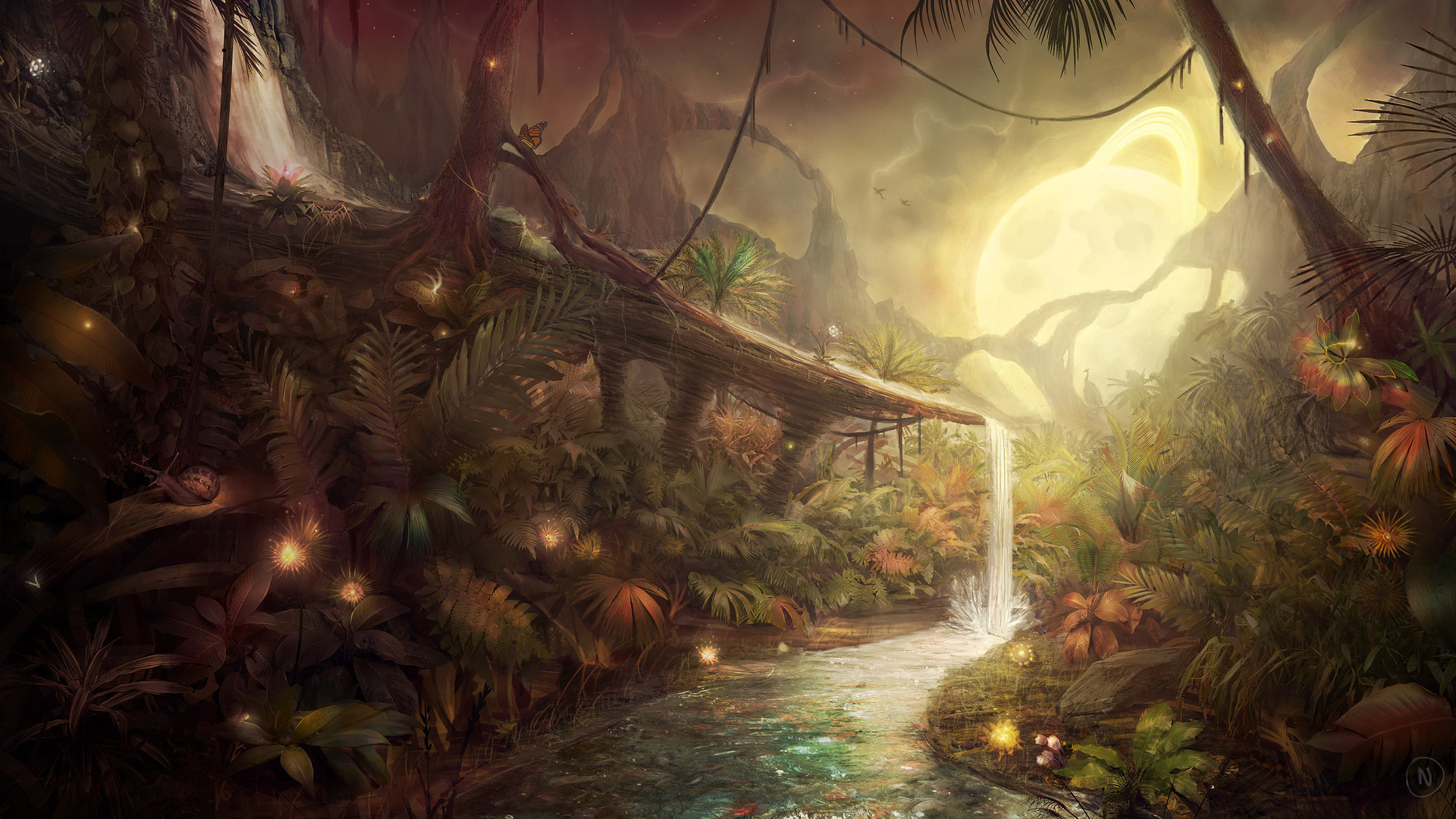 лес, водопад, деревья