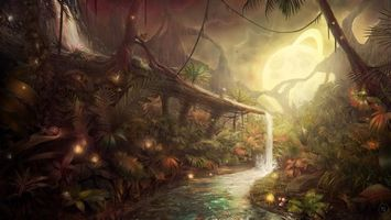 Фото бесплатно лес, водопад, деревья, лианы, бабочка, огни, свет, река, пруд, кора, ветки, абстракции, разное