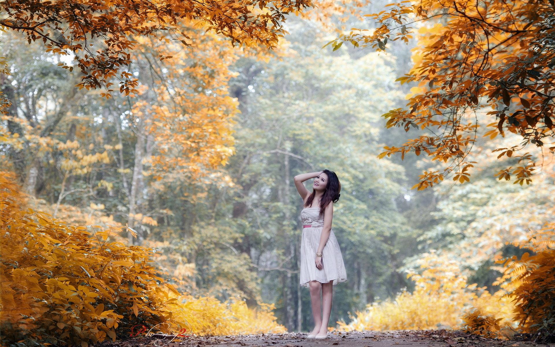 Обои осень, девушка, брюнетка, платье