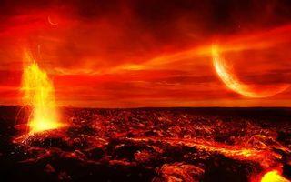 Обои планета, лава, огонь, ярко, взрывы, свет, космос