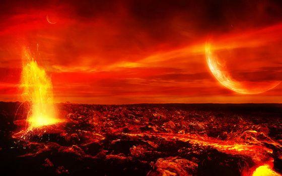 Фото бесплатно планета, лава, огонь, ярко, взрывы, свет, космос