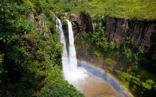 Заставки река, водопад, радуга