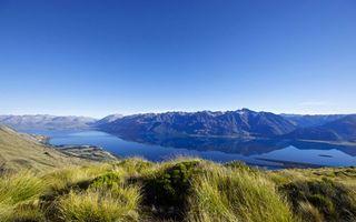 Бесплатные фото река,залив,горы,трава,небо,пейзажи,природа