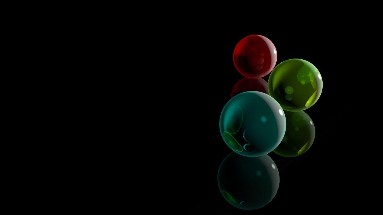 Фото бесплатно шары, цветные, поверхность, черная, отражение, заставка, разное, разное