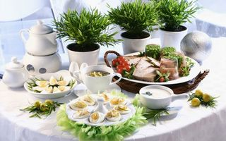 Обои тарелки, чайник, чай, завтрак, еда, яйца, еда