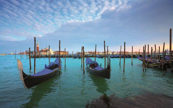 Фото бесплатно венеция, море, гондолы