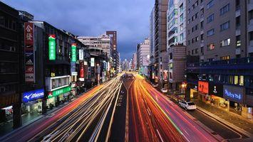 Бесплатные фото япония,улицы,трасса,дома,огни,вечер,город
