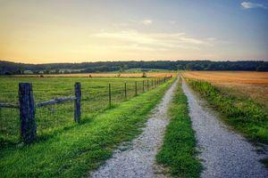 Бесплатные фото закат, поле, дорога, пейзаж