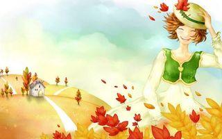 Обои девочка, волосы, шляпа, ветер, листья, дом, осень, листопад, разное