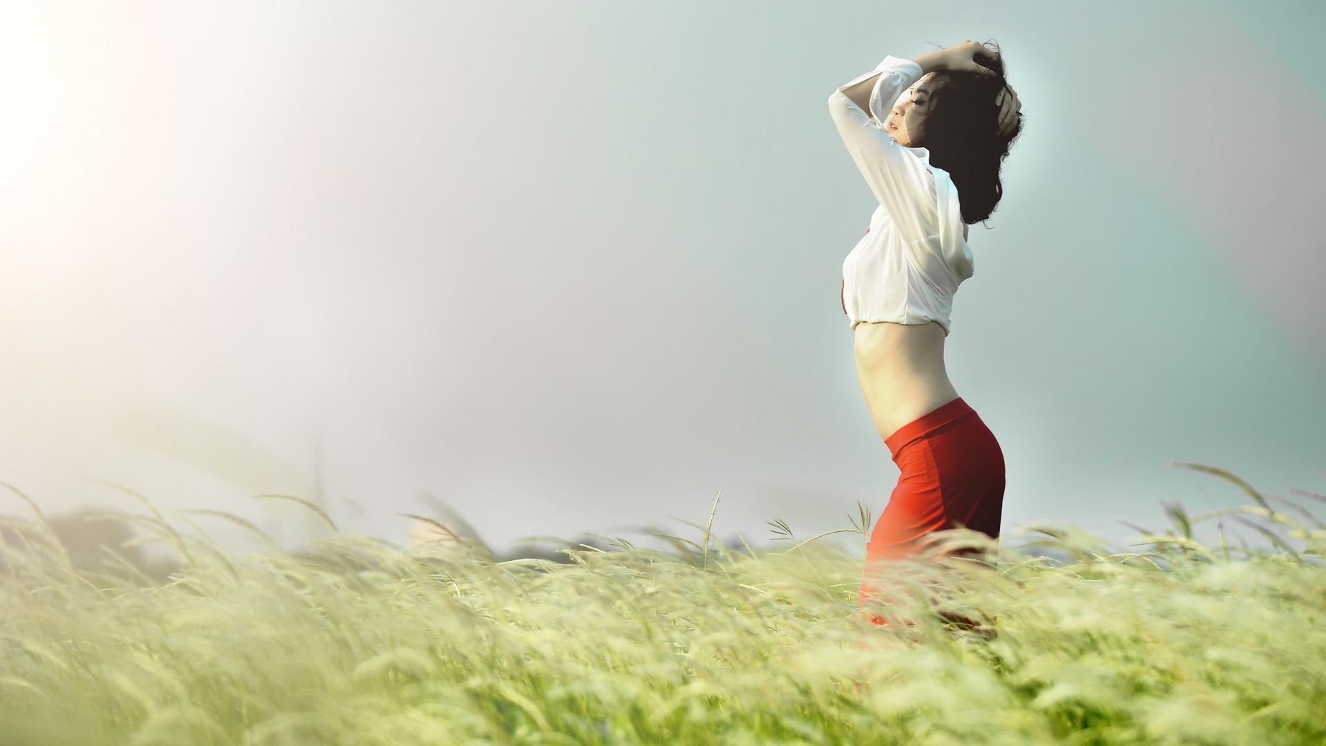 девушка, фото, поле