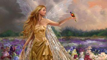 Бесплатные фото девушка,nene_tina_thomas,арт,фея,цветы,птицы,девушки
